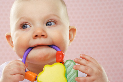 Baby chewing on baby toy --- Image by © Heide Benser/Corbis